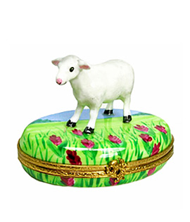 Limoges box lamb standing in field