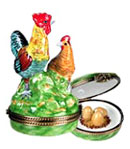 rooster and hen Limoges box