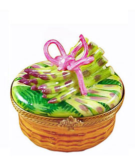 Limoges box asparagus basket with pink bow