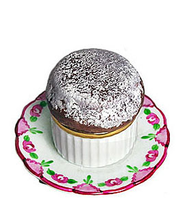 chocolate souffle on plate Limoges box