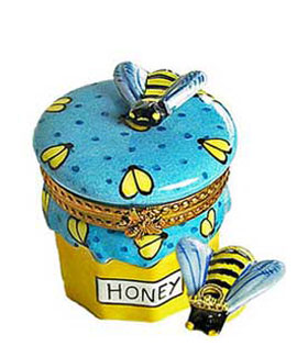 Limoges box honey jar with queen bee wearing crown