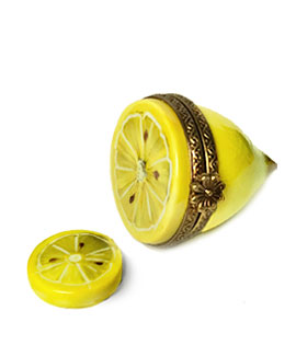 lemon half limoges box with slice