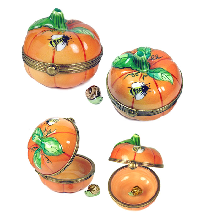 limoges box pumpkin with bee and snail
