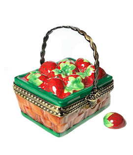basket of strawberries limoges box with removable berry