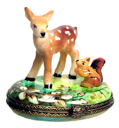 fawn and squirrel limoges box
