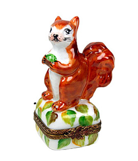 Limoges box squirrel on autumn decor
