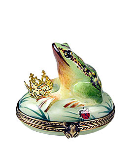 frog prince laying his crown at her feet Limoges box