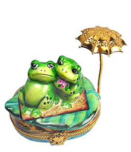 loving frogs under gold parasol Limoges box