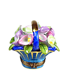 Limoges box calla lilies in blue and gold basket