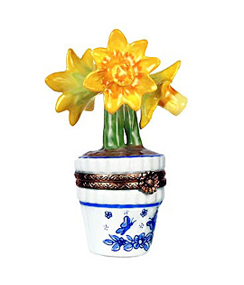 daffodils in blue and white pot Limoges box