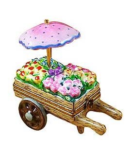 limoges box flower cart with pink umbrella