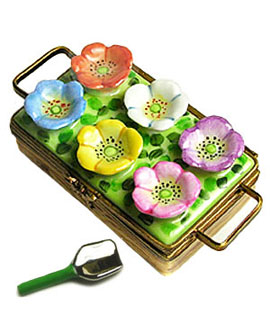 Limoges box flat of flowers and shovel