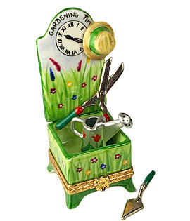 Time for gardening clock stand Limoges box