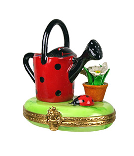 watering can with ladybug decor Limoges box