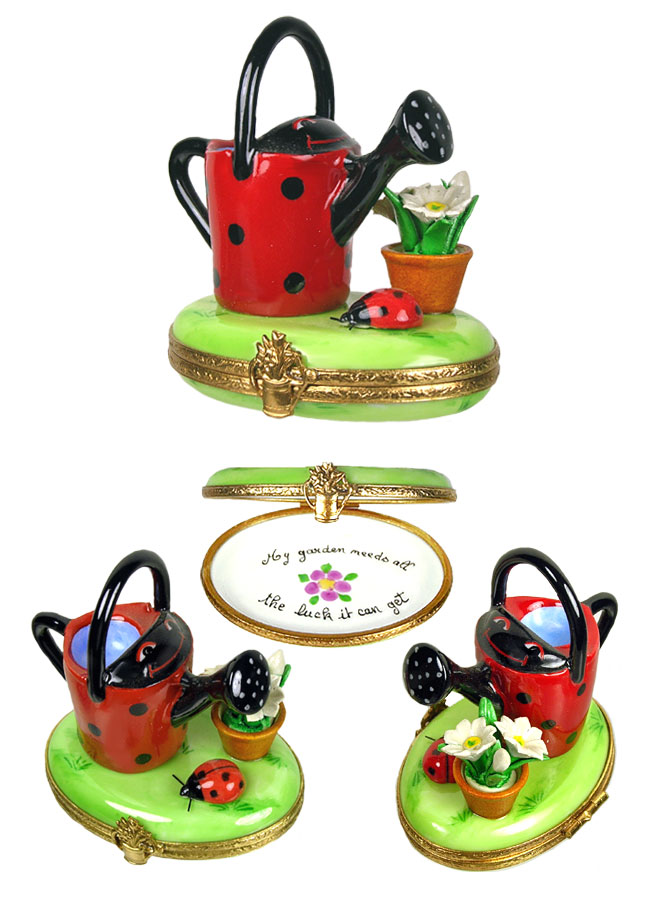 Limoges box ladybug decor watering can with plant and lady bug - Ladybug watering can ...