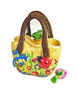 Limoges box small gardening bag with butterfly, ladybug, dragonfly