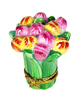 multi color tulips bouquet limoges box