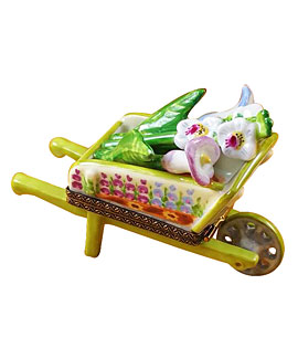 Limoges box wheelbarrow with cut lilies