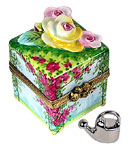 Limoges  box cube with roses and wisteria, watercan inside