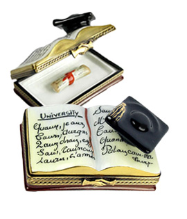 open book with graduation cap and diploma inside