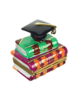 text books with graduation cap Limoges box