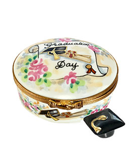Oval graduation Limoges box with porcelain cap