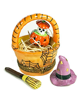 Limoges box halloween basket with skelton in pumpkin, witch hat and broom