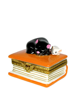 Magic book Limoges box with black cat