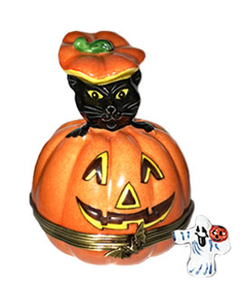 Limoges box Halloween Cat popping out of pumpkin