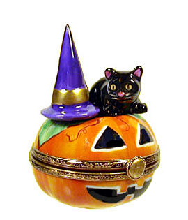 Limoges box Jack o lantern with witch hat and cat