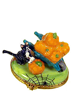 Limoges box cat in wheelbarrow with pumpkins