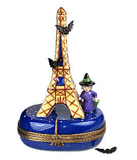 Limoges box Eiffel Tower at Halloween with witch and bats