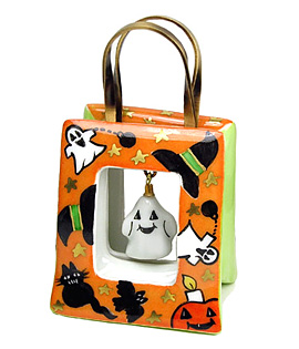 Halloween bag Limoges box with dangling ghost