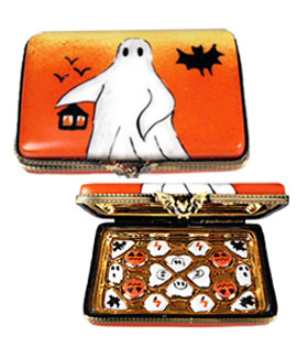 Limoges Halloween candy box with ghost