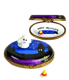 Halloween scene Limogs box with candy corn and ghost