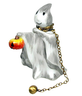 Limoges box ghost will pumpkin and ball and chain