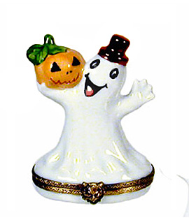 ghost with jack o lantern Limoges box