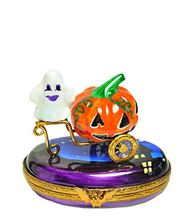 ghost riding pumkin chariot Limoges box