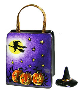 Limoges box trick or treat bag with witch hat