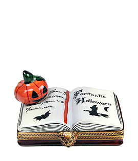 open halloween book with jack o'lantern