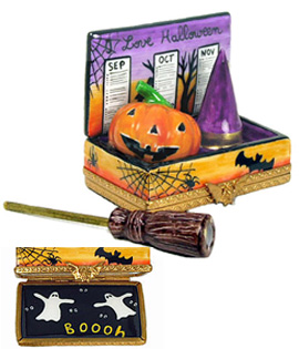 Limoges box Halloween calendar with witch broom