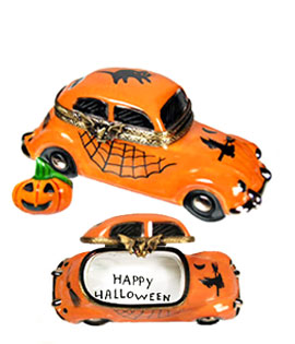 Limoges box VW Halloween car with Jack o' lantern