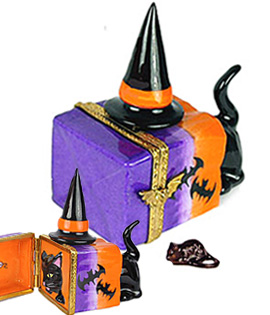Limoges box cat hunting mouse in Halloween sack