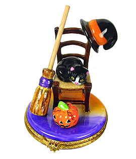 Halloween chair Limoges box with cat, pumpkin, witch hat and broom
