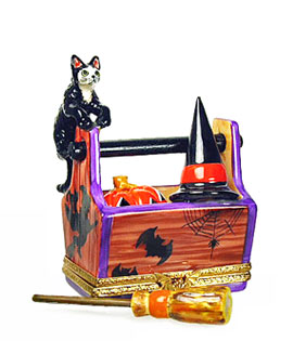 Limoges box cat on Halloween crate with witch broom