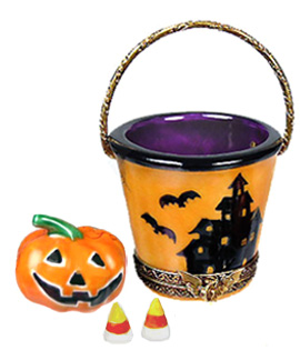 Rochard Halloween pail Limoges box with jack o lantern and candy corns
