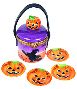 Halloween picnic Limoge box with pumpkin plates