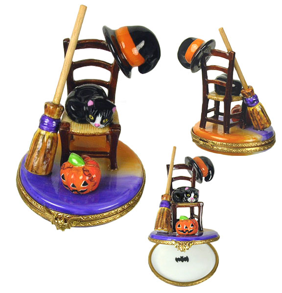Halloween chair with Jacx o'lantern, cat, witch hat and broom