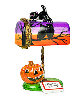 Halloween mailbox Limoges box with cat, pumpkin and letter
