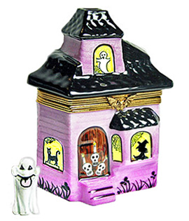 Laclaire haunted house Limoges box with ghost